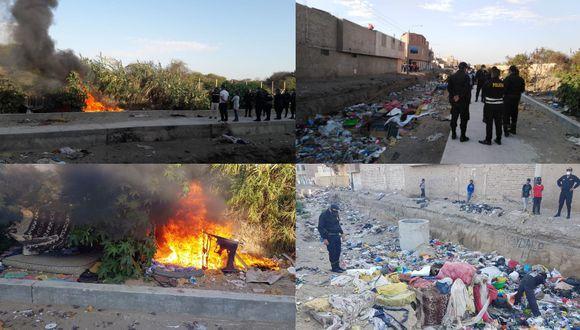 Chiclayo: queman y destruyen fumaderos donde se comercializaba estupefacientes (Foto: PNP)