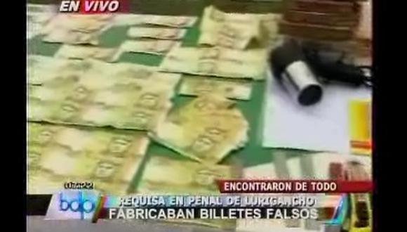 Encuentran mini fábrica de billetes falsos en penal de Lurigancho