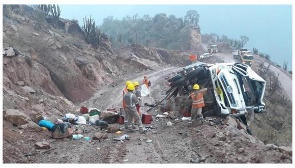 Accidente de tránsito se produjo cerca al Centro Poblado de Calemar, ubicado en la provincia de Bolívar. (Foto: Andina Noticias Santiago de Chuco)