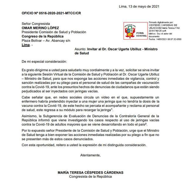 María Teresa Céspedes de Frepap pide citar a Óscar Ugarte.