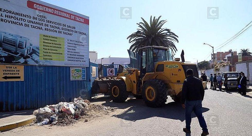 Por la fuerza ingresan a obra del hospital regional en Tacna