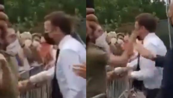 Sujeto abofetea a presidente Emmanuel Macron durante su visita a la localidad de Tain-l'Hermitage, en el sureste de Francia. (Video: captura de pantalla | Twitter | xevt - xhvt )