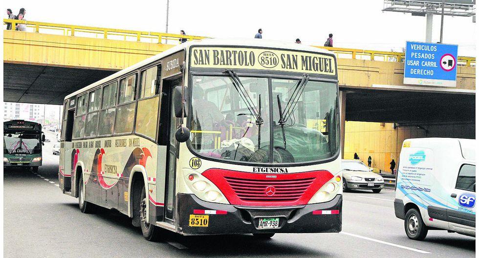 Asaltan a 15 pasajeros en un bus de la ruta San Bartolo - Breña