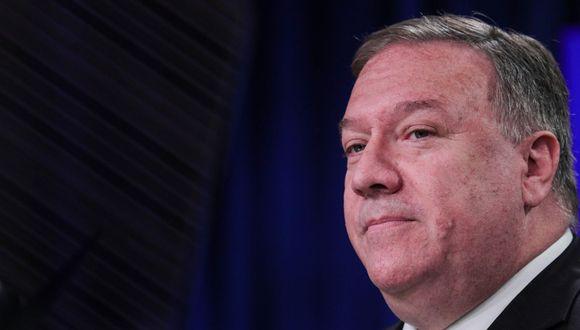 El Secretario de Estado Mike Pompeo dijo el 13 de julio de 2020 que Estados Unidos trataría la búsqueda de recursos de Beijing en El mar de China meridional, lleno de disputas, es ilegal, aumentando la presión. (AFP/ POOL/TOM BRENNER).
