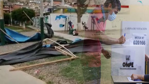Carpas de Onpe se desploman en parque María Parado de Bellido en Amarilis/ Foto: Correo