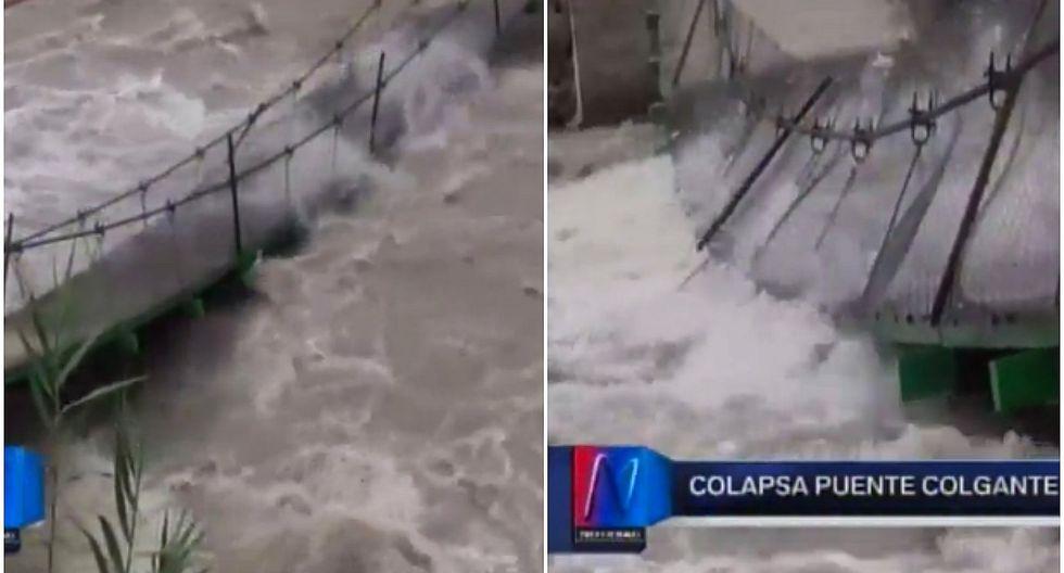 Crecida del río Cañete provoca colapso del puente colgante de Lunahuaná (VIDEO)