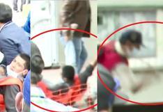 Ronderos tumban, arrastran y golpean con chicotazos a joven frente a serenos (VIDEO)