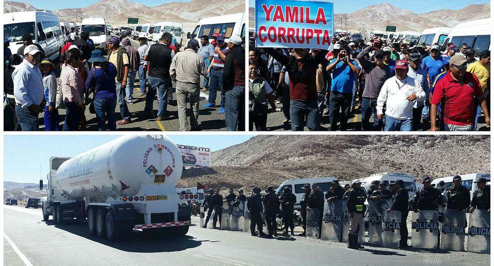 Arequipa: Policía lanza bombas lacrimógenas a trasnportistas de miniváns (VIDEO)