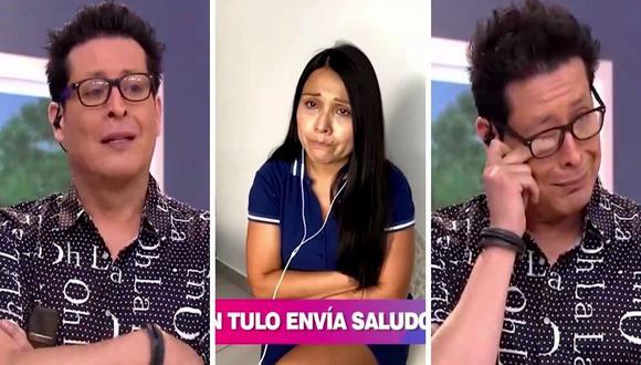 """""""Carloncho"""" llora tras ver el saludo de """"Don Tulo"""", quien está alejado de su hija Tula Rodríguez, quien tiene coronavirus. (Foto: Captura América TV)."""