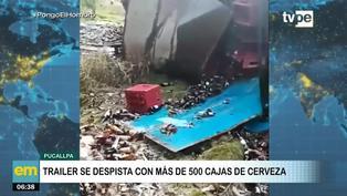 Pucallpa: Tráiler repleto de cerveza se despista en carretera Federico Basadre
