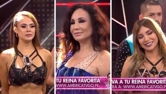 """Paula Manzanal, Janet Barboza y Jossmery Toledo son las tres sentencias de la tercera gala de """"Reinas del Show"""". (Foto: Captura: América TV)"""
