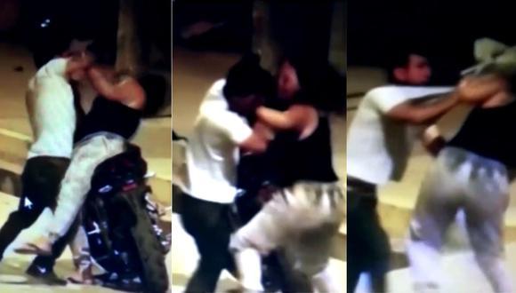 Tras la pelea, serenos llegaron hasta el lugar, pero no encontraron a la mujer. Foto: Captura de América Noticias