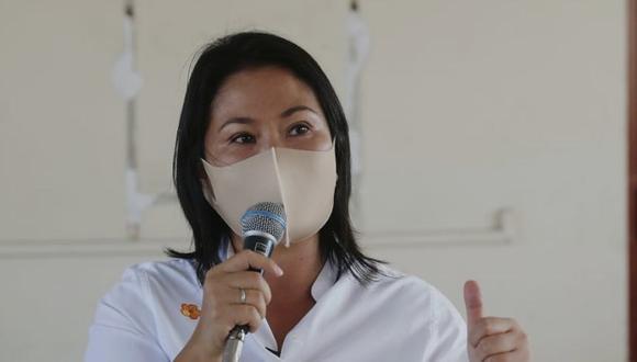 """Keiko Fujimori pidió a la población """"preocupada"""" con el resultado del sondeo que la sitúa a 11% de diferencia con el candidato presidencial de Perú Libre, Pedro Castillo, que tengan """"calma"""". (Foto: GEC)"""