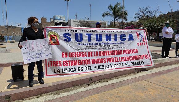 Ica: Sindicatos realizan plantón contra autoridades de la Unica