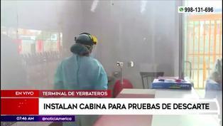 Implementan cabinas para pruebas de descarte COVID-19 en terminal Yerbateros