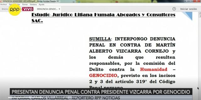 Imagen de la denuncia interpuesta por la abogada Liliana Humala contra el presidente Vizcarra. (Captura: RPP)
