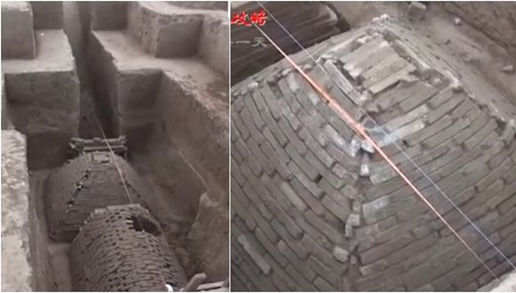China: encuentran extraña tumba en forma de pirámide (VIDEO)