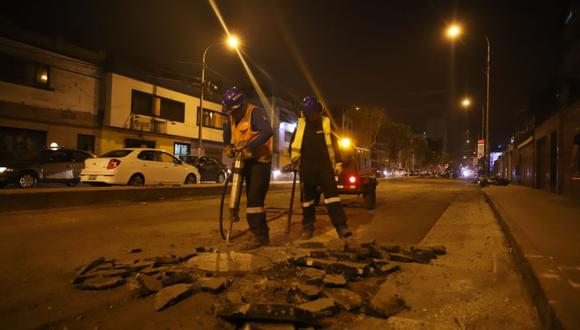La Municipalidad de Lima detalló que las labores se ejecutan entre las 10 p.m. y 6 a.m. (Difusión)