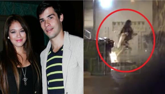 Jazmín Pinedo entrando corriendo a la casa de Jesús Neyra, según Magaly TV.