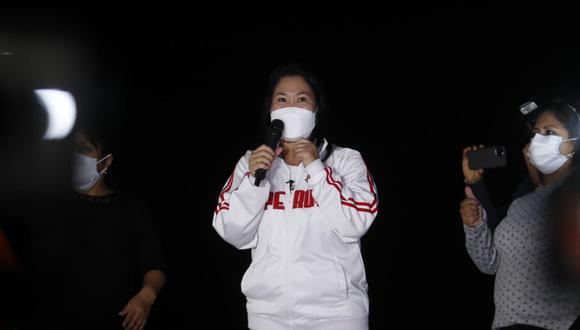 Keiko Fujimori también se dirigió al presidente Francisco Sagasti y dijo no comprender por qué no aceptó su petición para solicitar una auditoría internacional. (Foto: Hugo Pérez / @photo.gec)