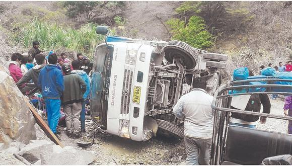 Diez heridos deja vuelco de camión que transportaba a fieles del Señor Cautivo