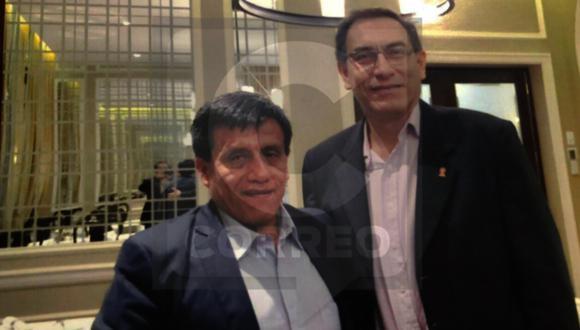 El presidente Martín Vizcarra y Antonio Camayo en el Hotel Country de San Isidro.