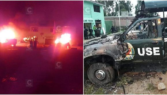 Turba quema comisaría y vehículos buscando ajusticiar a tres presuntos delincuentes