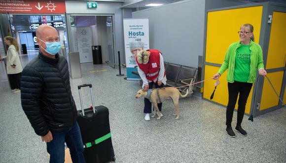 Arribando de Riga, Juha Turku (izquierda) es el primer pasajero en ser testeado para COVID-19 el 23 de setiembre último por Kossi, uno de los perros rastreadores. (Foto: EFE/EPA/MAURI RATILAINEN)