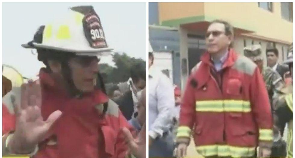 Martín Vizcarra llega a incendio en Comas y se viste de bombero (VIDEO)
