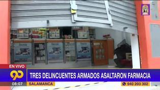 Ate: Delincuentes armados asaltaron farmacia ubicada a una cuadra de la comisaría de Salamanca