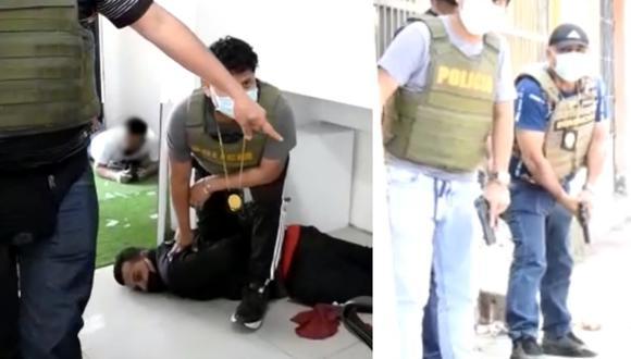 Los efectivos abrieron la puerta del negocio y encañonaron a los involucrados, quienes tuvieron que rendirse al ser superados. (Foto: PNP)