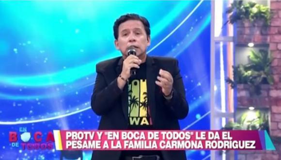 Ricardo Rondón le envió sus condolencias a Tula Rodríguez por la muerte de su esposo, Javier Carmona.   Foto: América Televisión.