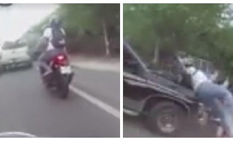 Motociclistas salvan de morir tras ser arrollados por una camioneta (FOTOS)