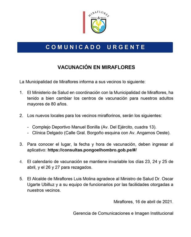 Comunicado de Miraflores sobre centros de vacunación para adultos mayores.