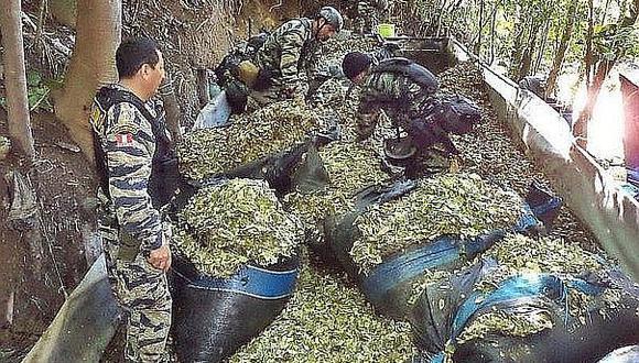 Policía decomisa tonelada y media de hojas de coca en Cusco