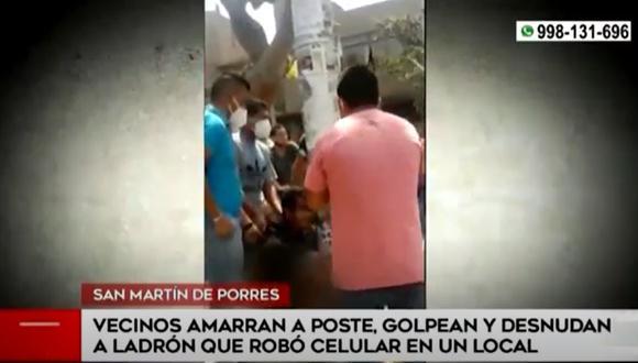 Efectivos de la PNP llegaron al lugar antes de que fuese linchado. (América TV)