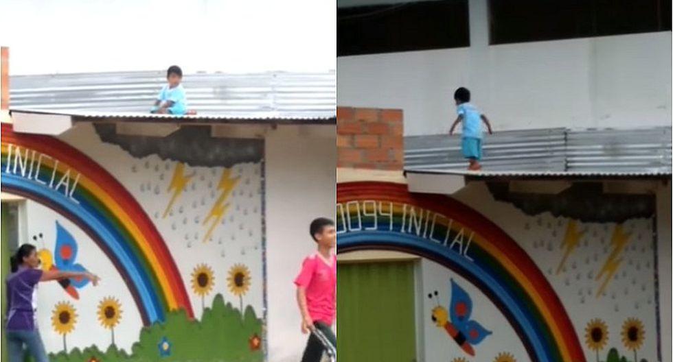 Niño travieso se sube a techo de su jardín y causa pánico (VIDEO)