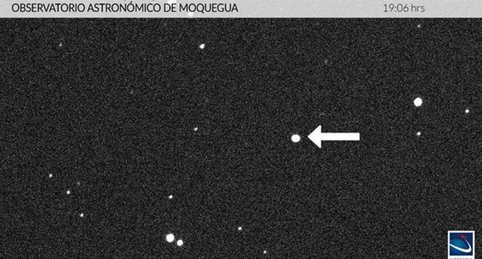 La imagen del asteroide fue capturada desde el Observatorio Astronómico de Moquegua el último miércoles. (Cortesía / Agencia Espacial del Perú)