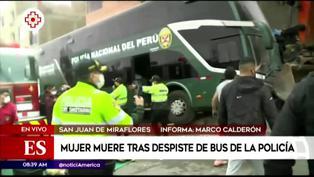 Mujer muere tras despiste de bus de la Policía Nacional del Perú en San Juan de Miraflores (VIDEO)