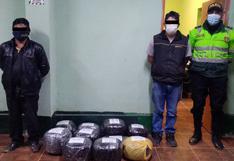 PNP interviene a dos sujetos que transportaban más de 30 kilos de marihuana en Huánuco