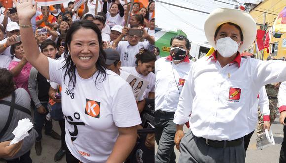Keiko Fujimori y Pedro Castillo son los candidatos que podrían pasar a segunda vuelta. (Fotos: GEC)