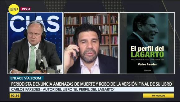"""Carlos Paredes es autor del libro """"El perfil del lagarto"""". Captura: RPP"""