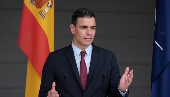 El primer ministro español, Pedro Sánchez, es visto en una conferencia de prensa en Sauliai, Lituania , 8 de julio de 2021. (EFE/EPA/VALDA KALNINA).