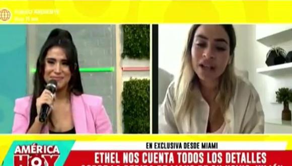 Melissa Paredes se conmueve tras pedida de mano de Julián Alexander a Ethel Pozo. (Foto: Captura de TV)