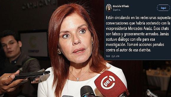 Desmienten chats sobre supuestas conversaciones con Mercedes Araóz
