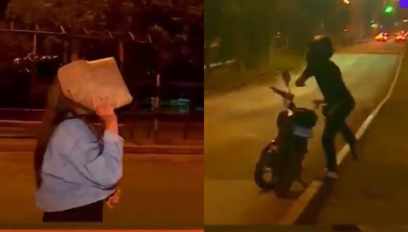 La jovencita no respondió y solo atinó a taparse el rostro con un sobre. Video: Punto Final