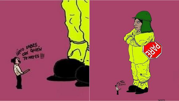 Rinden homenaje con una caricatura a obrera que fue agredida por mujer en Arequipa