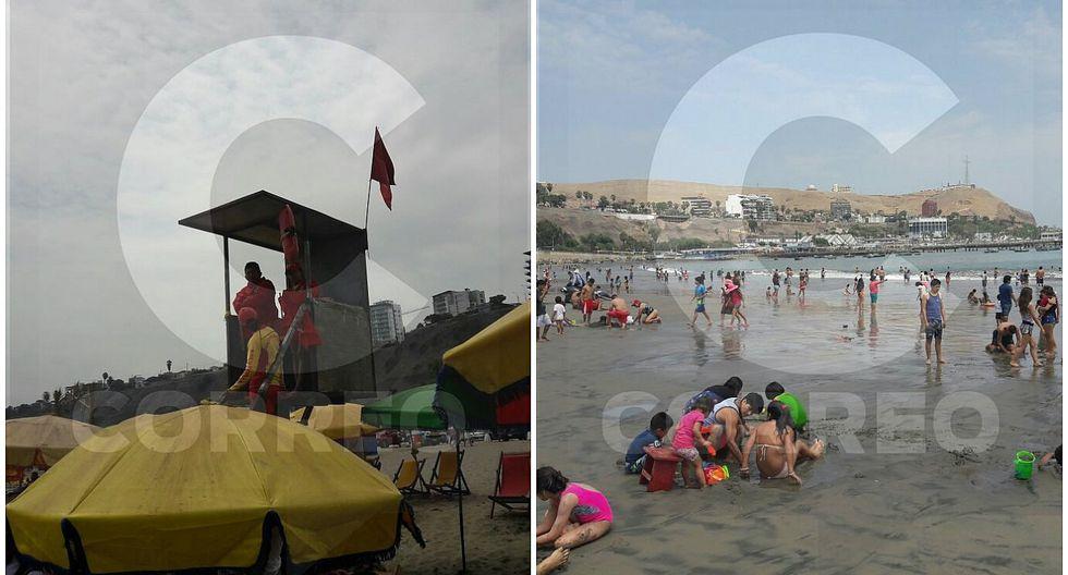 Agua Dulce: Bañistas ingresan al mar pese a alerta roja (VIDEO y FOTOS)