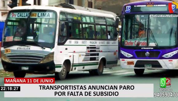 La Asociación Nacional de Integración de Transportistas indicó que no han recibido ningún tipo de subsidio del Gobierno para continuar operando. (24 Horas)