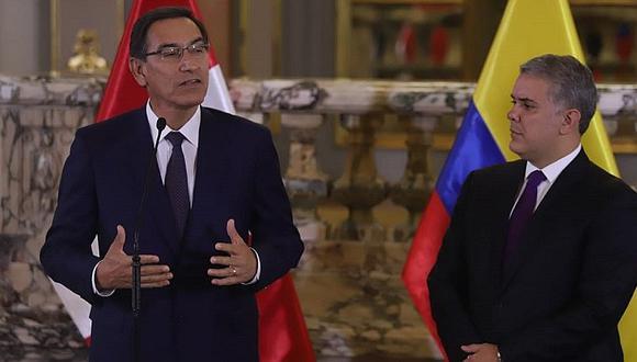 Martín Vizcarra se reunió con su homólogo de Colombia Iván Duque en Palacio (FOTOS)